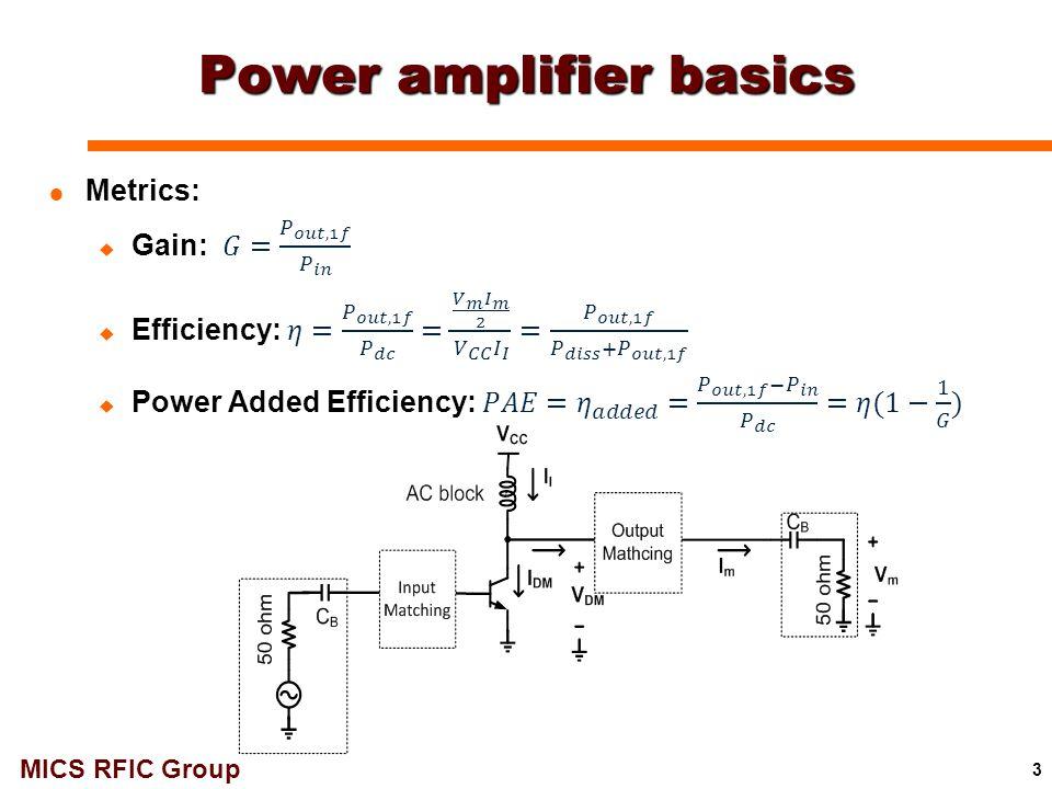 MICS RFIC Group 54 33 GHz 1-Stage Class-F PA (VCC = 2V): Layout VBBVCC gnd rfIn rfOut  Size: 620μm x 440μm gnd