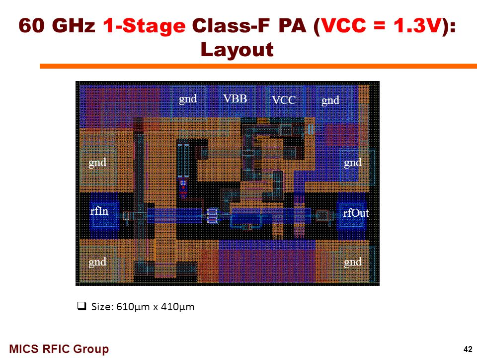 MICS RFIC Group 42 60 GHz 1-Stage Class-F PA (VCC = 1.3V): Layout VBB VCCgnd rfIn rfOut gnd  Size: 610μm x 410μm