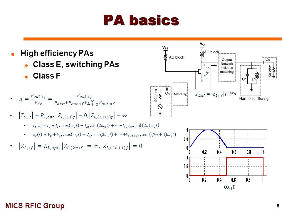 MICS RFIC Group Design Summary 94GHzPAE (%)IP1dB (dBm)Psat (dBm)Gain (dB) 1stage-1.3V15.37.712.53.8 1stage-2.2V21.811.9174 2stage229.1177.8 37 60GHzPAE (%)P1dB (dBm)Psat (dBm)Gain (dB) 1stage-1.3V25.85.512.56.5 1stage-2.2V299.7177 2stage28.54.21611.5 33GHzPAE (%)P1dB (dBm)Psat (dBm)Gain (dB) 1stage-1.3V302.5117 1stage-2.2V4041510