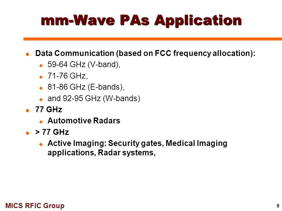 MICS RFIC Group 30 94 GHz 1-Stage Class-F PA (VCC = 2.2V): Layout VBBVCC gnd rfIn rfOut  Size: 530μm x 400μm gnd