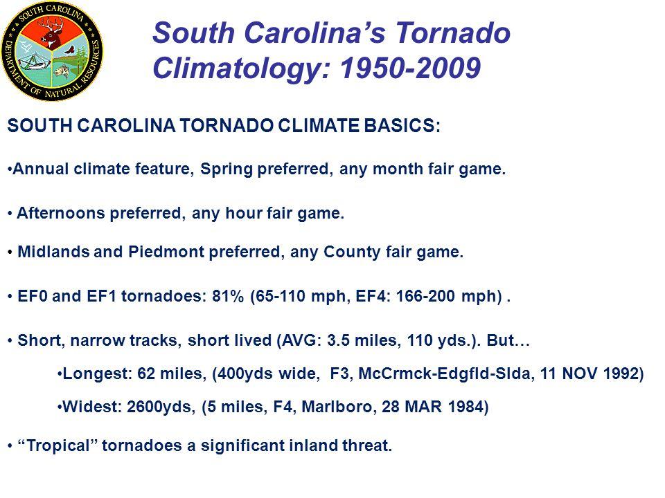 South Carolina's Tornado Climatology: 1950-2009 SOUTH CAROLINA TORNADO CLIMATE BASICS: Annual climate feature, Spring preferred, any month fair game.