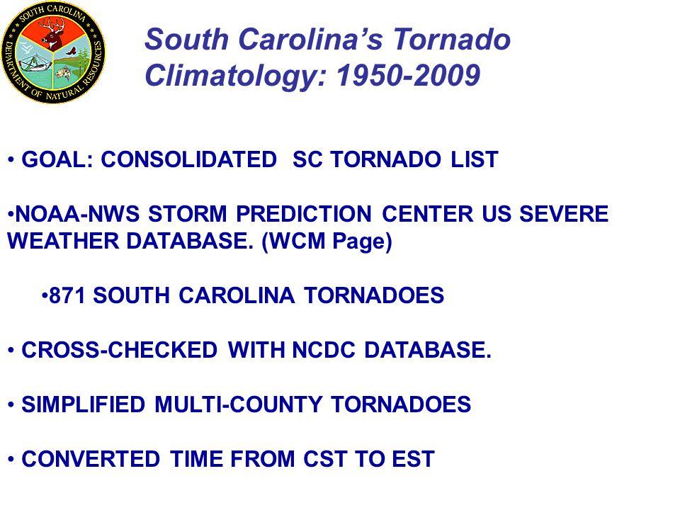 South Carolina's Tornado Climatology: 1950-2009 GOAL: CONSOLIDATED SC TORNADO LIST NOAA-NWS STORM PREDICTION CENTER US SEVERE WEATHER DATABASE. (WCM P