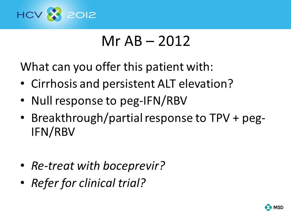 Mr AB – 2012 What can you offer this patient with: Cirrhosis and persistent ALT elevation.