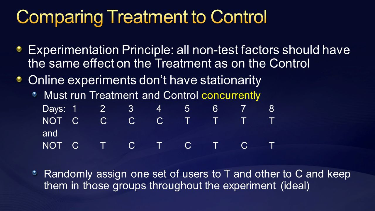 Experimentation Principle: all non-test factors should have the same effect on the Treatment as on the Control Online experiments don't have stationarity Must run Treatment and Control concurrently Days:12345678 NOTCCCCTTTT and NOTCTCTCTCT Randomly assign one set of users to T and other to C and keep them in those groups throughout the experiment (ideal)
