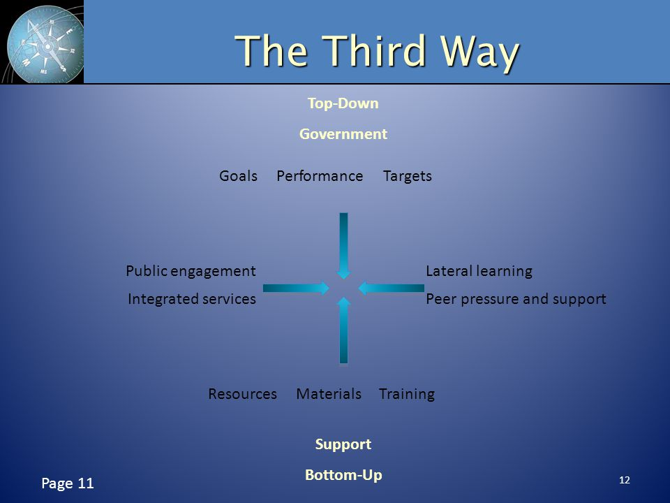 12 The Third Way Page 11 Top-Down Government Support Bottom-Up Goals Performance Targets Resources Materials Training Lateral learning Peer pressure and support Public engagement Integrated services