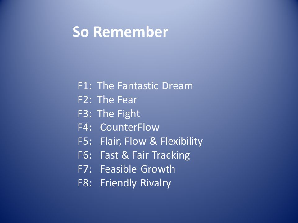 So Remember F1: The Fantastic Dream F2: The Fear F3: The Fight F4: CounterFlow F5: Flair, Flow & Flexibility F6: Fast & Fair Tracking F7: Feasible Growth F8: Friendly Rivalry