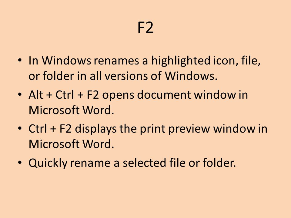 F3 Often opens a search feature for many programs including Microsoft Windows Shift + F3 will change the text in Microsoft Word from upper to lower case or a capital letter at the beginning of every word.