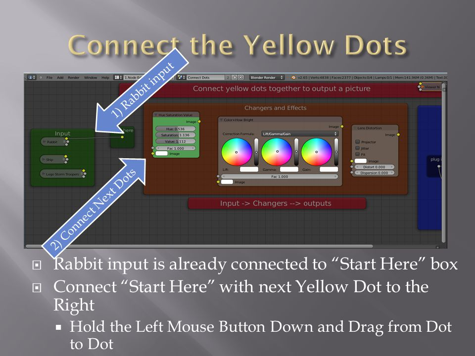  Rabbit input is already connected to Start Here box  Connect Start Here with next Yellow Dot to the Right  Hold the Left Mouse Button Down and Drag from Dot to Dot 1) Rabbit input 2) Connect Next Dots