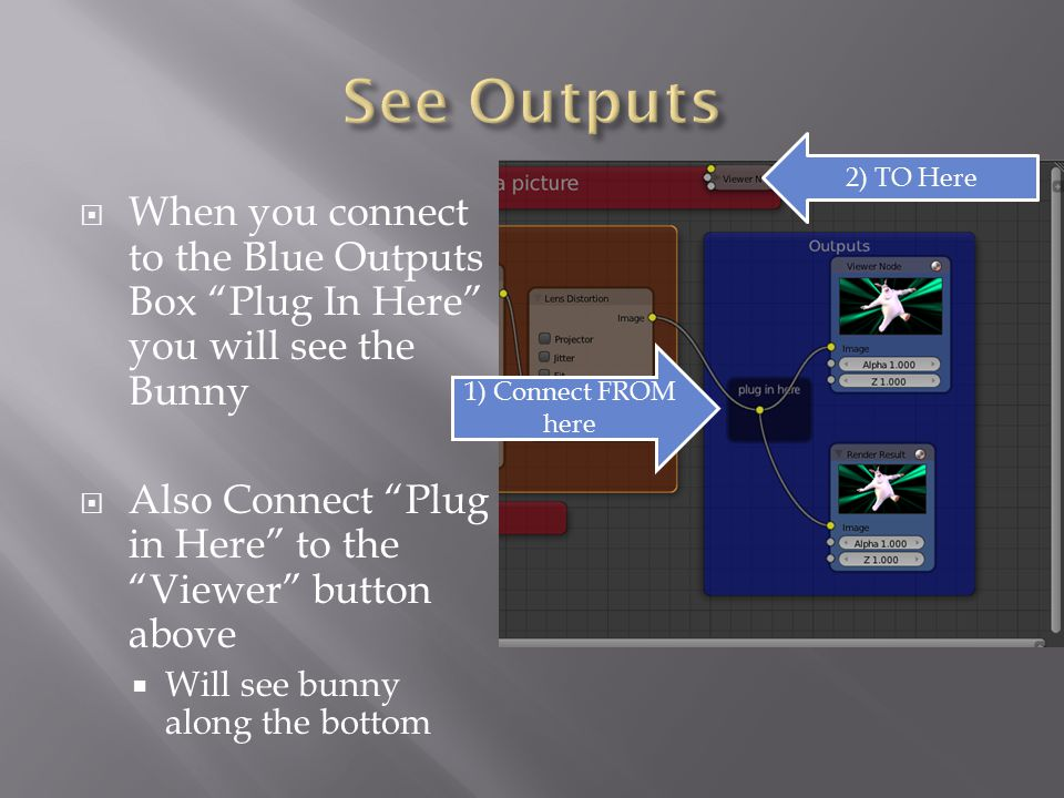  When you connect to the Blue Outputs Box Plug In Here you will see the Bunny  Also Connect Plug in Here to the Viewer button above  Will see bunny along the bottom 2) TO Here 1) Connect FROM here
