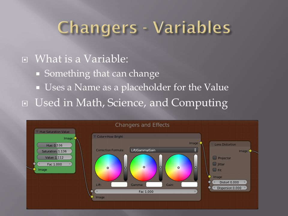  What is a Variable:  Something that can change  Uses a Name as a placeholder for the Value  Used in Math, Science, and Computing