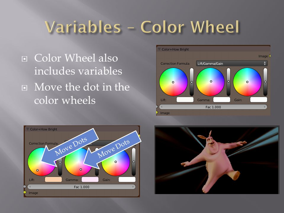  Color Wheel also includes variables  Move the dot in the color wheels Move Dots