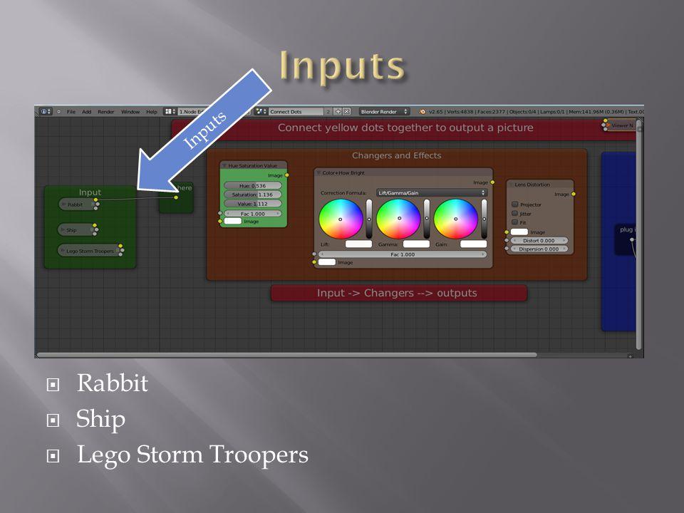 Rabbit  Ship  Lego Storm Troopers Inputs