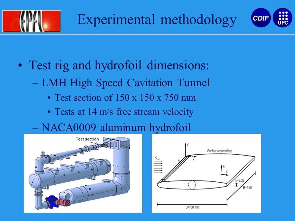 Test rig and hydrofoil dimensions: –LMH High Speed Cavitation Tunnel Test section of 150 x 150 x 750 mm Tests at 14 m/s free stream velocity –NACA0009 aluminum hydrofoil Experimental methodology