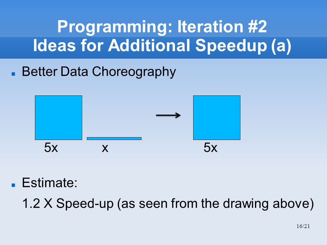 16/21 Programming: Iteration #2 Ideas for Additional Speedup (a) Better Data Choreography 5x x 5x Estimate: 1.2 X Speed-up (as seen from the drawing a