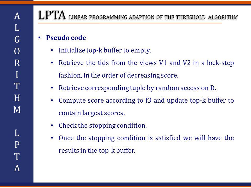 ALGORITHMLPTAALGORITHMLPTA Pseudo code Initialize top-k buffer to empty.