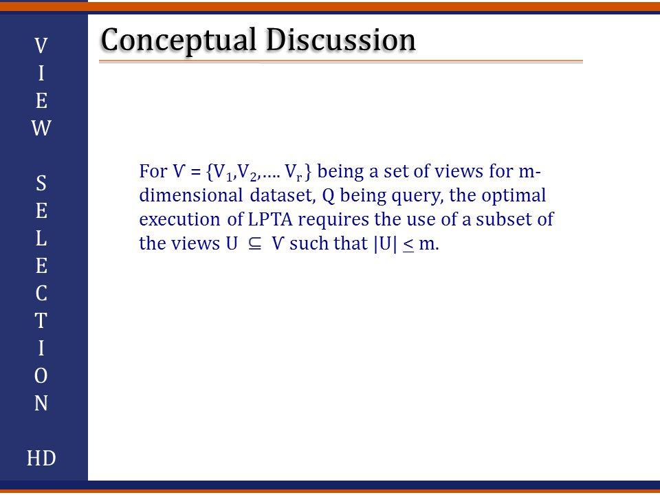 V I E W S E L E C T I O N HD For Ѵ = {V 1,V 2,….