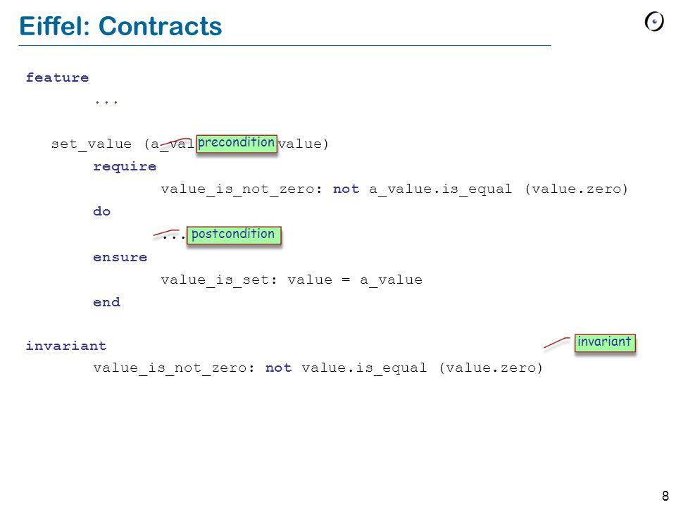 8 Eiffel: Contracts feature... set_value (a_value: like value) require value_is_not_zero: not a_value.is_equal (value.zero) do... ensure value_is_set: