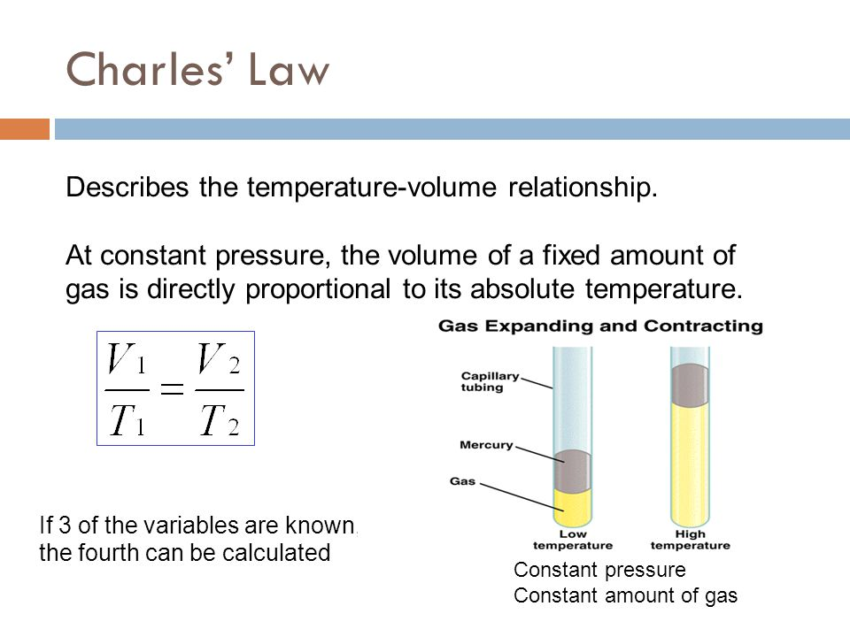 Charles' Law Describes the temperature-volume relationship. At constant pressure, the volume of a fixed amount of gas is directly proportional to its