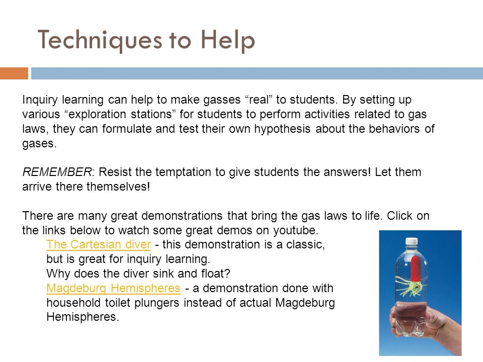 """Techniques to Help Inquiry learning can help to make gasses """"real"""" to students. By setting up various """"exploration stations"""" for students to perform a"""