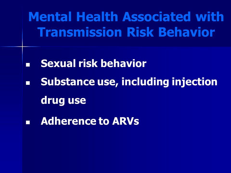 Evidence of MH Interventions Impacting Sexual Risk Behavior NPopulationInterventionLength of FU SRB measures Kelly et al., 199368 Men w/ depressionGroup / CBT vs.
