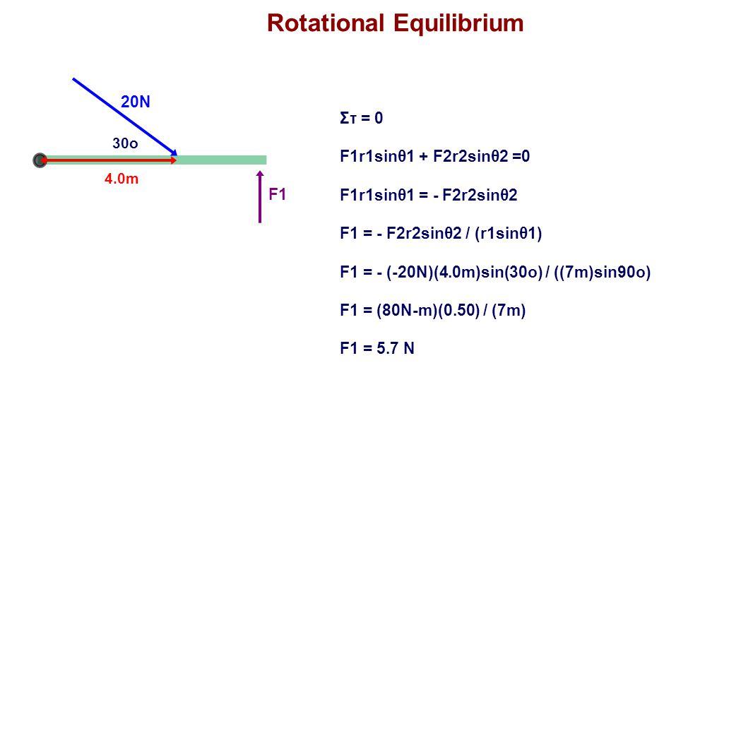 Rotational Equilibrium 20N 30o 4.0m F1 Στ = 0 F1r1sinθ1 + F2r2sinθ2 =0 F1r1sinθ1 = - F2r2sinθ2 F1 = - F2r2sinθ2 / (r1sinθ1) F1 = - (-20N)(4.0m)sin(30o