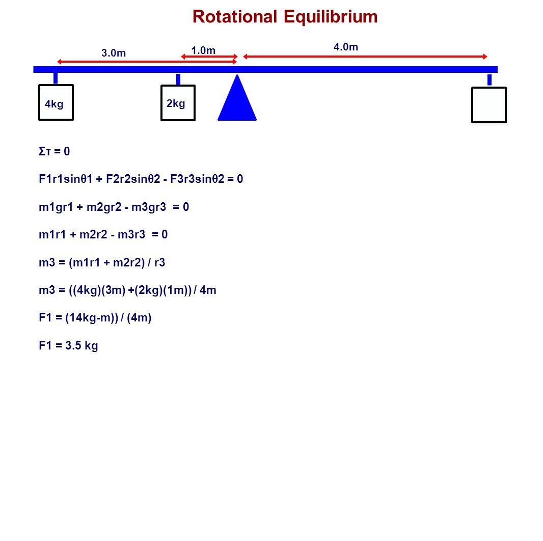 Rotational Equilibrium 1.0m 3.0m 4.0m 4kg 2kg Στ = 0 F1r1sinθ1 + F2r2sinθ2 - F3r3sinθ2 = 0 m1gr1 + m2gr2 - m3gr3 = 0 m1r1 + m2r2 - m3r3 = 0 m3 = (m1r1