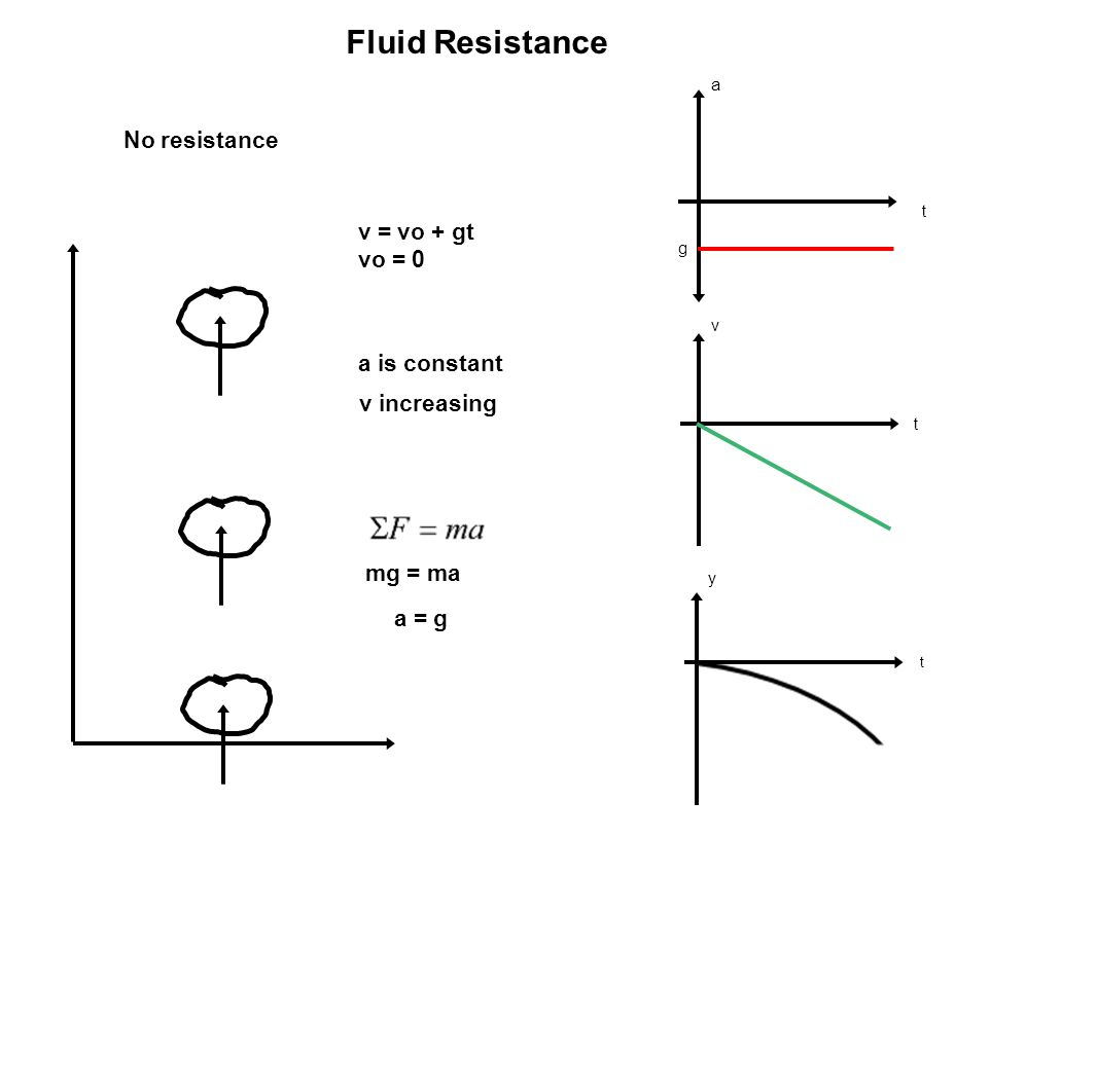 a t g t v y t Fluid Resistance No resistance v = vo + gt vo = 0 a is constant v increasing mg = ma a = g