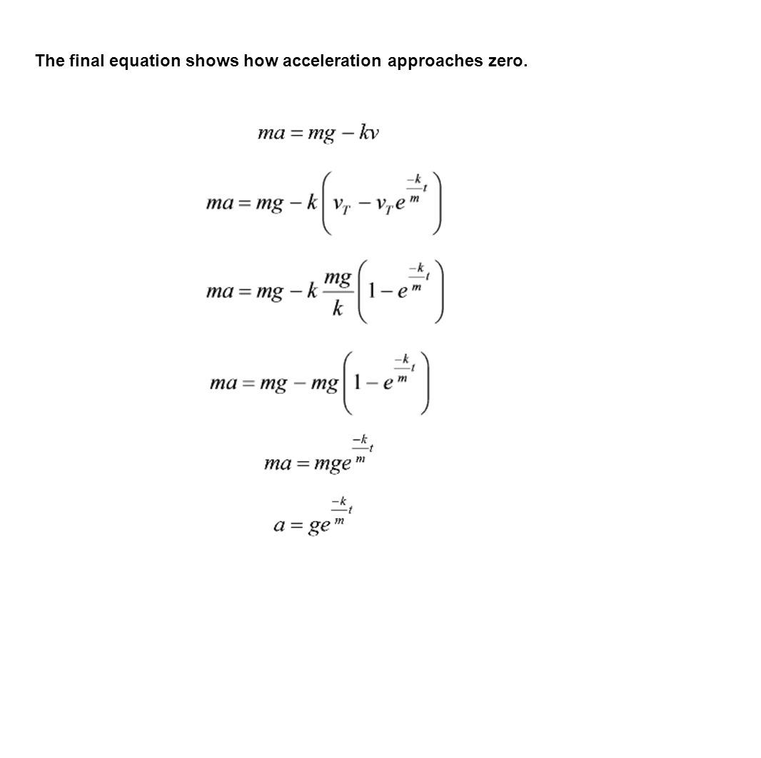 The final equation shows how acceleration approaches zero.