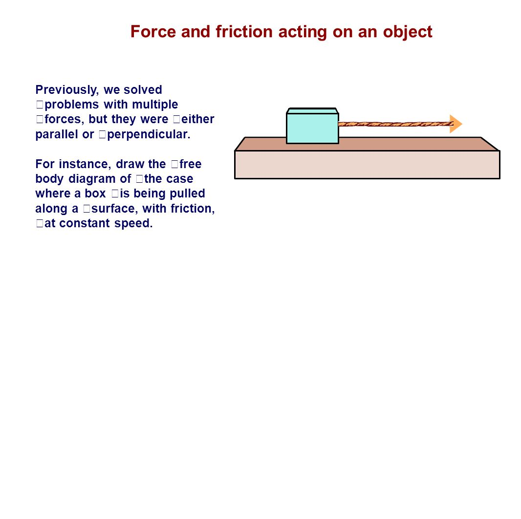 Force and friction acting on an object Previously, we solved problems with multiple forces, but they were either parallel or perpendicular. For instan