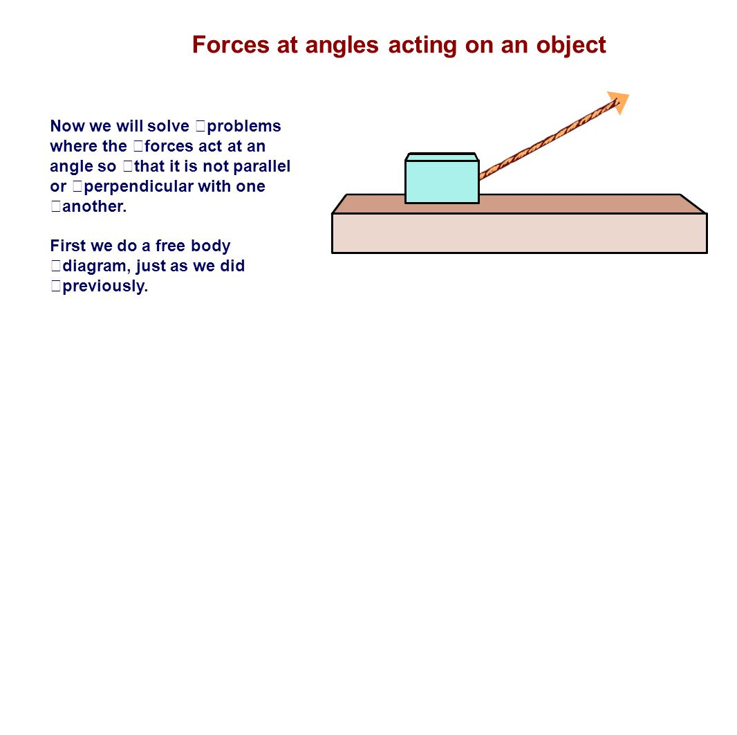 Forces at angles acting on an object Now we will solve problems where the forces act at an angle so that it is not parallel or perpendicular with one