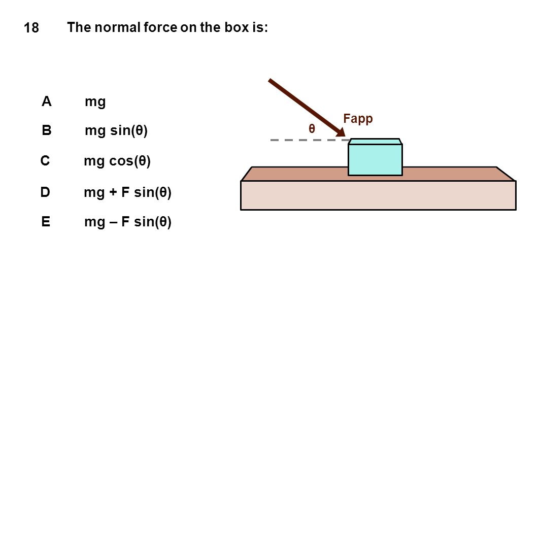 18 The normal force on the box is: Amg Bmg sin(θ) Cmg cos(θ) Dmg + F sin(θ) Emg – F sin(θ) Fapp θ