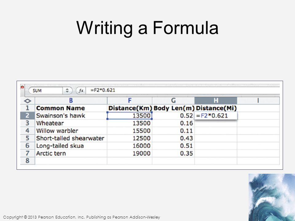 Copyright © 2013 Pearson Education, Inc. Publishing as Pearson Addison-Wesley Writing a Formula