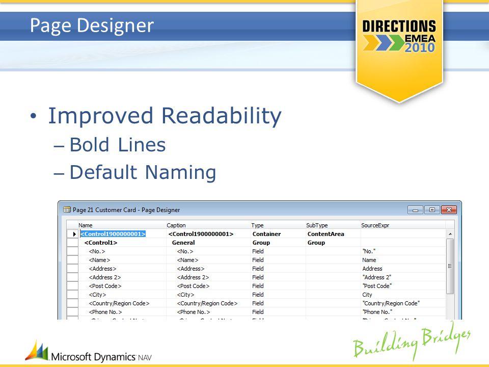 Building Bridges Page Designer Improved Readability – Bold Lines – Default Naming