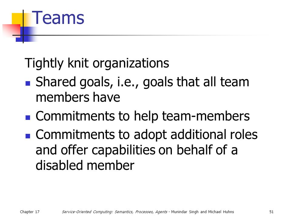 Chapter 1751Service-Oriented Computing: Semantics, Processes, Agents - Munindar Singh and Michael Huhns Teams Tightly knit organizations Shared goals, i.e., goals that all team members have Commitments to help team-members Commitments to adopt additional roles and offer capabilities on behalf of a disabled member