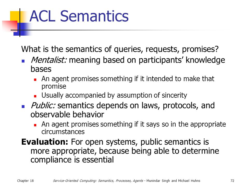 Chapter 1872Service-Oriented Computing: Semantics, Processes, Agents - Munindar Singh and Michael Huhns ACL Semantics What is the semantics of queries, requests, promises.