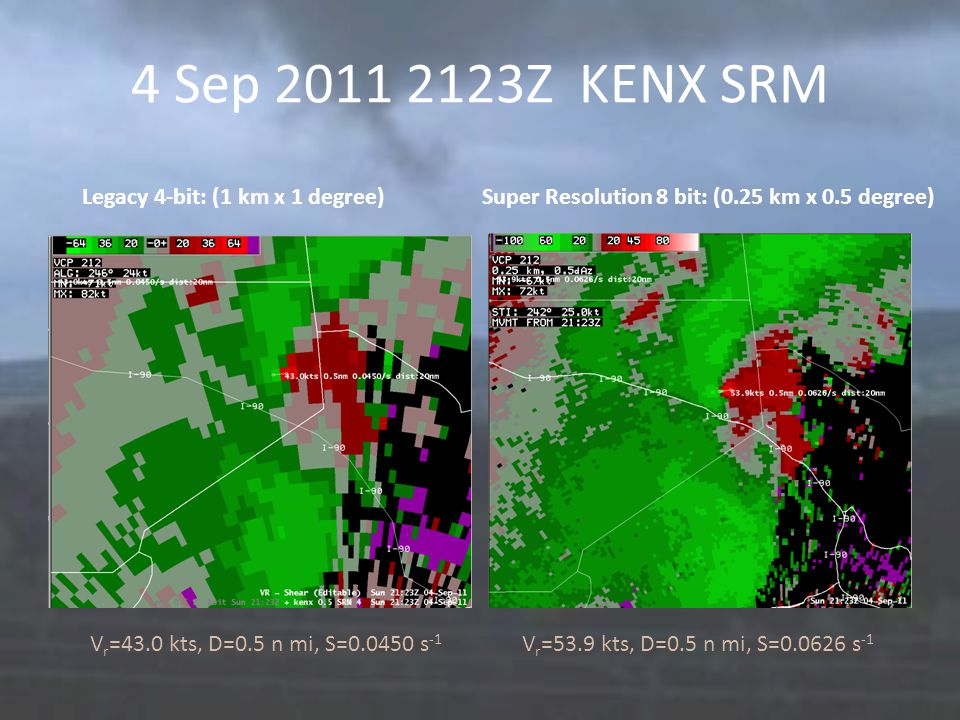 4 Sep 2011 2123Z KENX SRM Legacy 4-bit: (1 km x 1 degree) Super Resolution 8 bit: (0.25 km x 0.5 degree) V r =43.0 kts, D=0.5 n mi, S=0.0450 s -1 V r =53.9 kts, D=0.5 n mi, S=0.0626 s -1