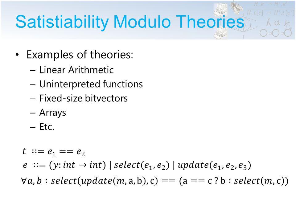 α ϒ ʎ …… Reachability Modulo Theories // variables var x: int var M: int  int // assignments x := expr // procedures call foo(x); // conditions assume expr assert expr SMT Finite number of variables (possibly arrays) Finite number of procedures RMT: Is there an execution that violates an assertion?