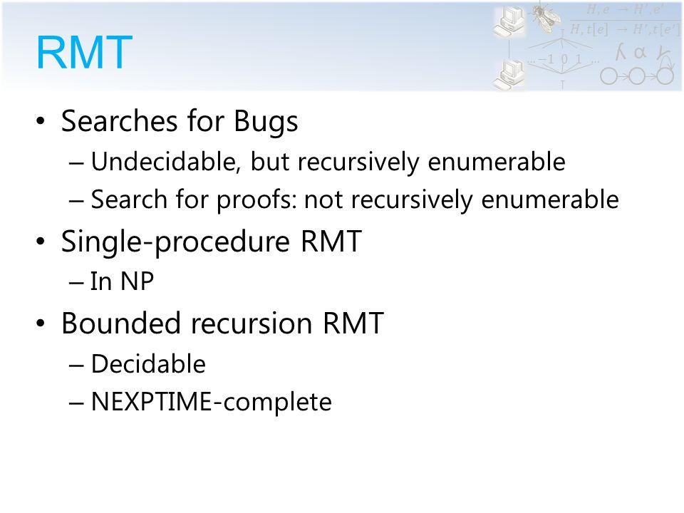 α ϒ ʎ …… RMT Single-Procedure RMT: NP  f (w, x, y, z) holds iff f(w) can return (x,y,z)