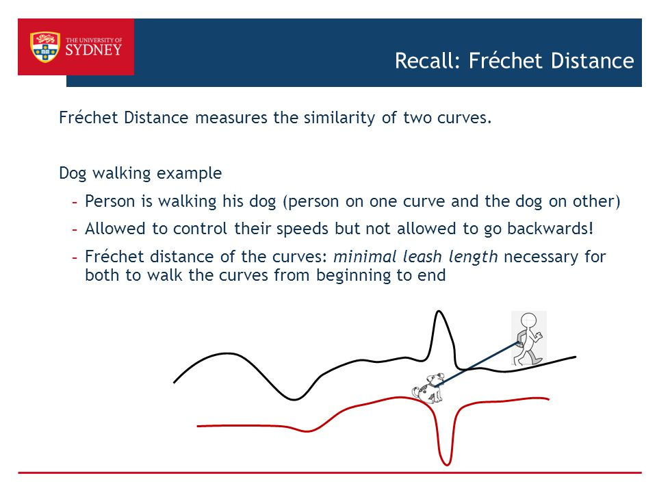 Recall: Fréchet Distance Fréchet Distance measures the similarity of two curves. Dog walking example - Person is walking his dog (person on one curve