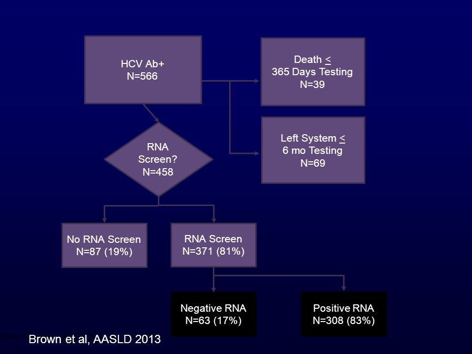 HCV Ab+ N=566 Death < 365 Days Testing N=39 Left System < 6 mo Testing N=69 RNA Screen.