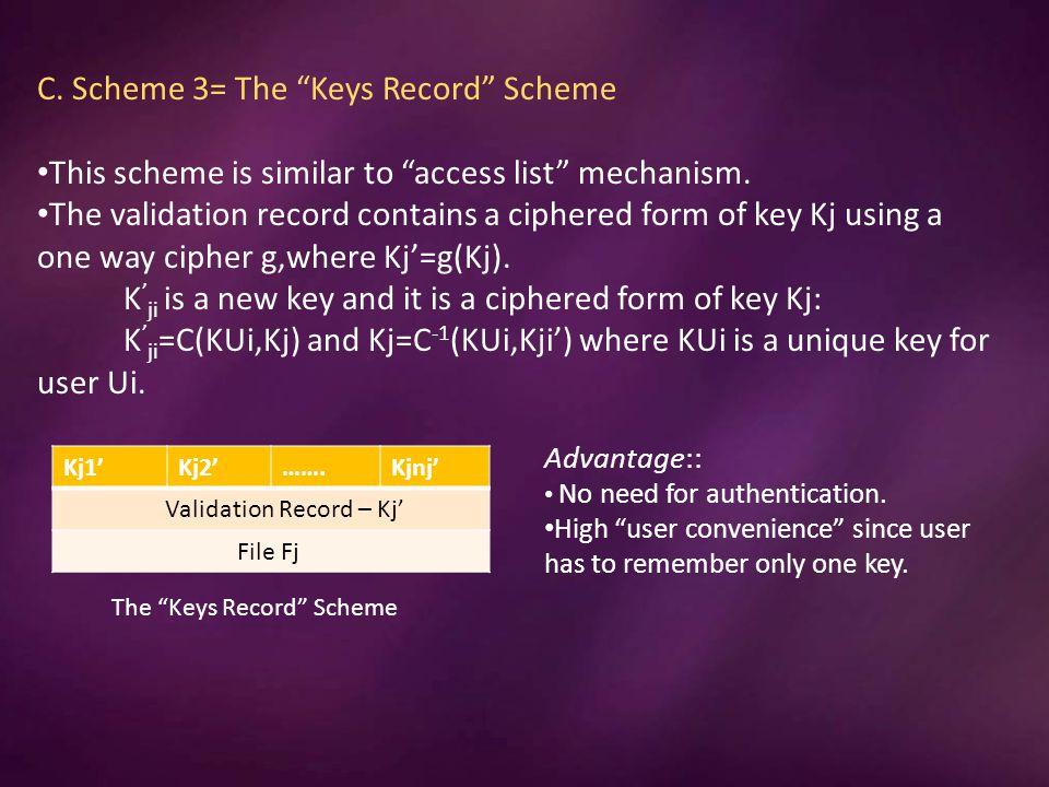 C. Scheme 3= The Keys Record Scheme This scheme is similar to access list mechanism.