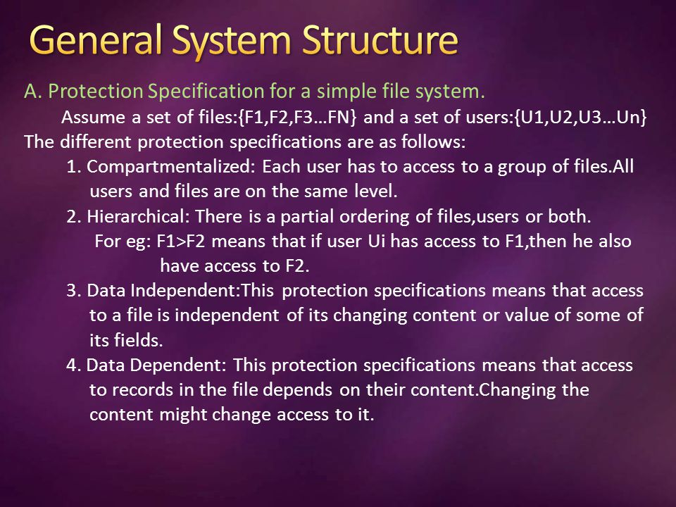 A. Protection Specification for a simple file system.