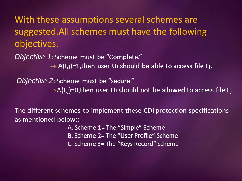 With these assumptions several schemes are suggested.All schemes must have the following objectives.