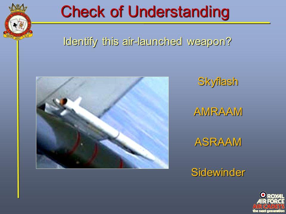 Check of Understanding Identify this air-launched weapon? Skyflash AMRAAM ASRAAM Sidewinder
