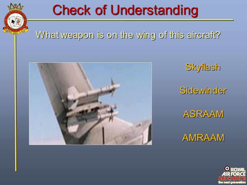 Check of Understanding What weapon is on the wing of this aircraft? Skyflash Sidewinder ASRAAM AMRAAM