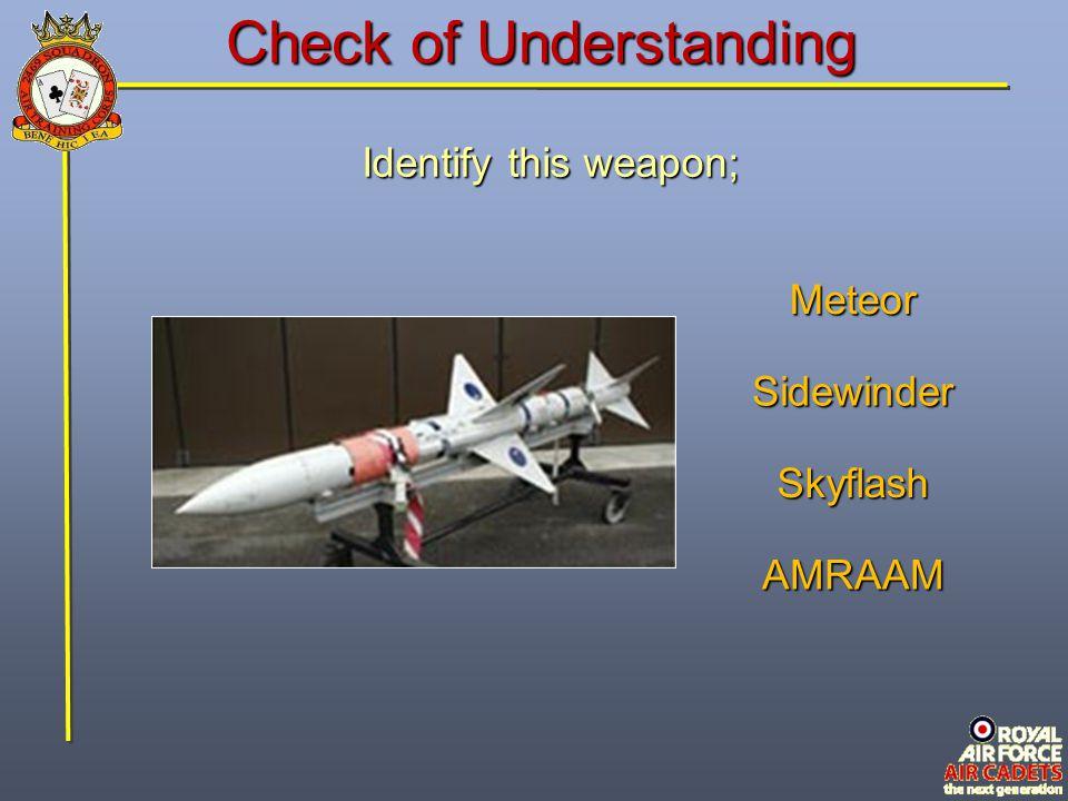Check of Understanding Identify this weapon; Sidewinder AMRAAM Meteor Skyflash