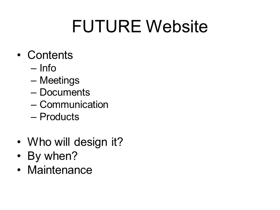 FUTURE Website Contents –Info –Meetings –Documents –Communication –Products Who will design it.