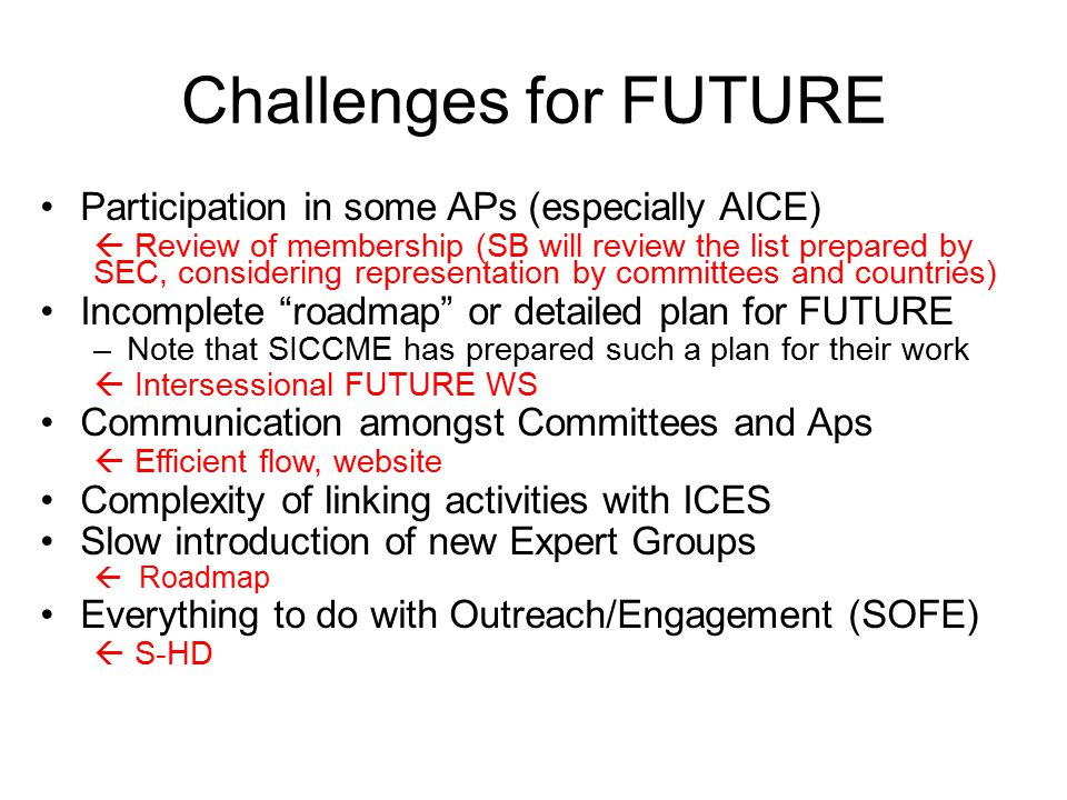 Challenges for FUTURE Participation in some APs (especially AICE)  Review of membership (SB will review the list prepared by SEC, considering representation by committees and countries) Incomplete roadmap or detailed plan for FUTURE –Note that SICCME has prepared such a plan for their work  Intersessional FUTURE WS Communication amongst Committees and Aps  Efficient flow, website Complexity of linking activities with ICES Slow introduction of new Expert Groups  Roadmap Everything to do with Outreach/Engagement (SOFE)  S-HD