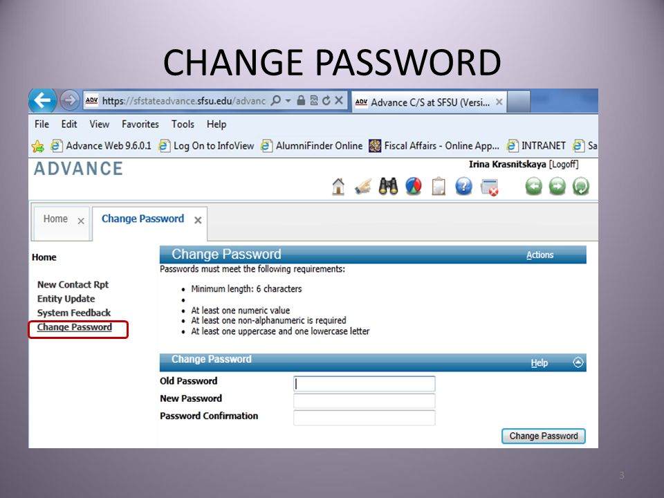 CHANGE PASSWORD 3