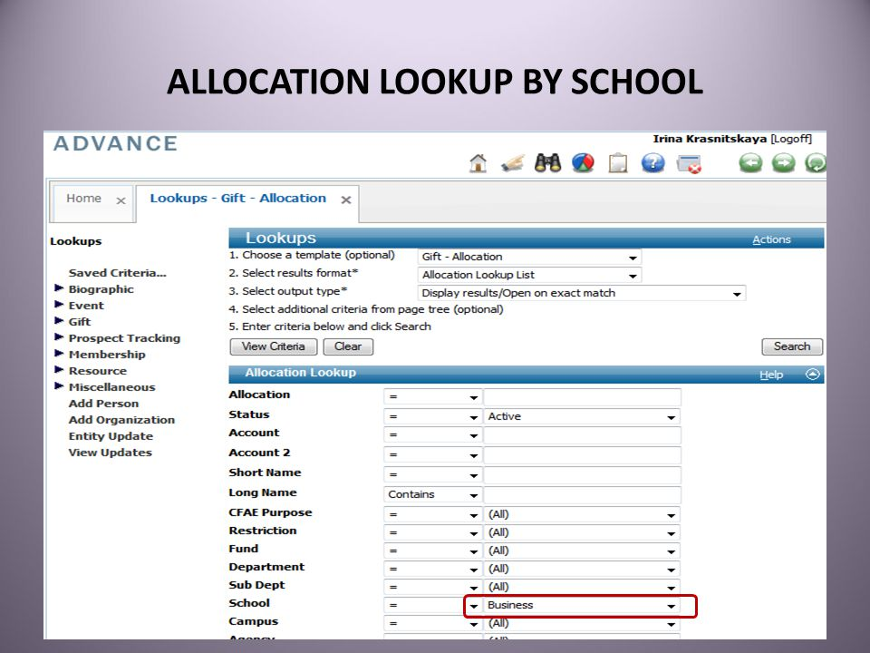 ALLOCATION LOOKUP BY SCHOOL 35